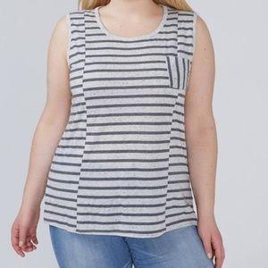 Lane Bryant Womens Plus Gray Stripe Tank Top NWT